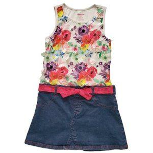 Nannette Kids Floral Patch Top Denim Skirt Dress